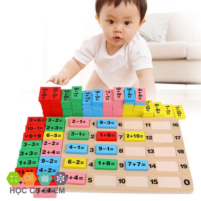 100 quân domino toán học bằng gỗ hỗ trợ cho bé học...