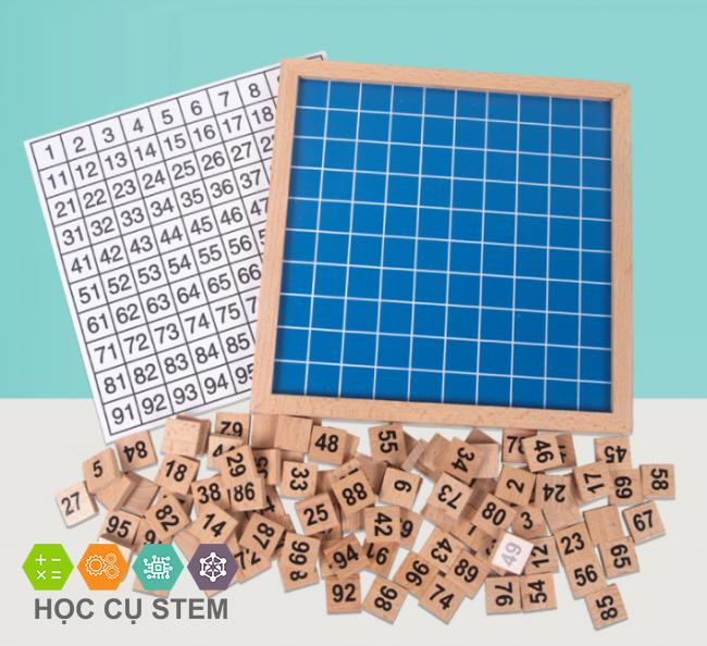 Bảng gỗ số tập đếm từ 1 đến 100 giáo cụ Montessori...